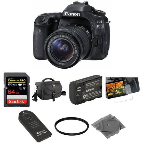 Canon EOS 80D DSLR Camera with 18-55mm Lens Basic Kit