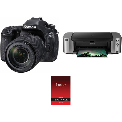 Canon EOS 80D DSLR Camera with 18-135mm Lens and Inkjet Printer Kit