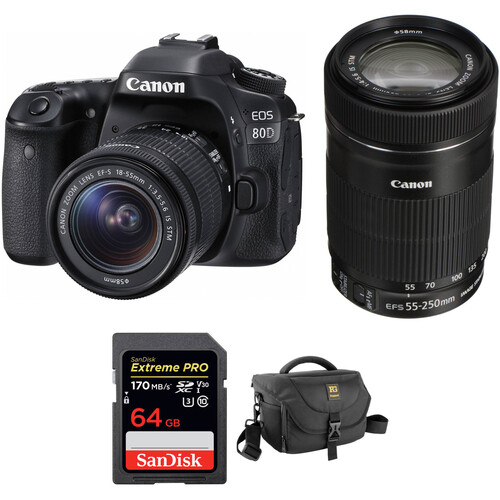 Canon EOS 80D DSLR Camera with 18-55mm and 55-250mm Lenses Kit