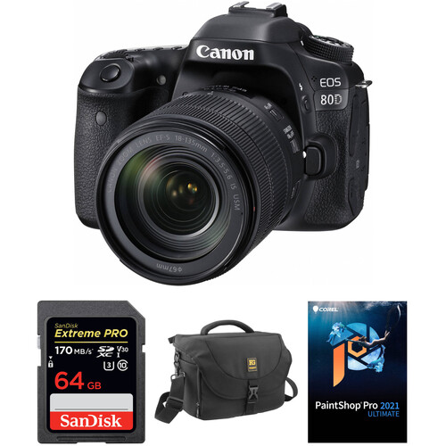 Canon EOS 80D DSLR Camera with 18-135mm Lens and Accessory Kit