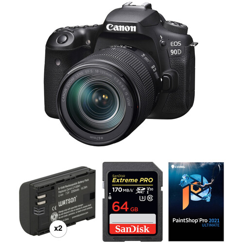 Canon EOS 90D DSLR Camera with 18-135mm Lens and Software Kit
