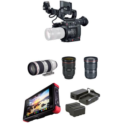 Canon EOS C200 Cinema Camera with Triple Lens Kit and Atomos Ninja Flame