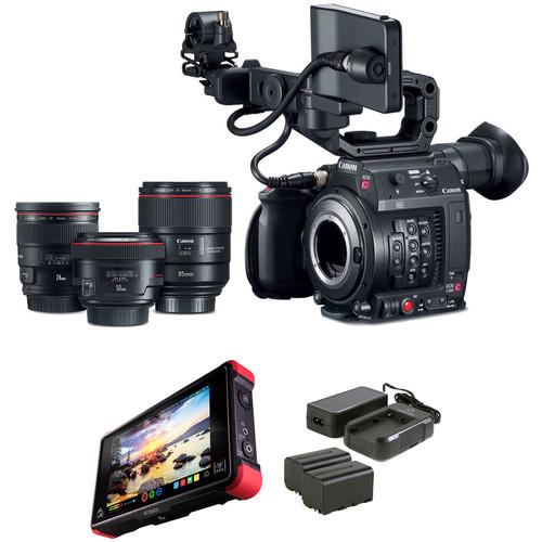 Canon EOS C200 Kit with Prime Lens Bundle and Atomos Ninja Flame