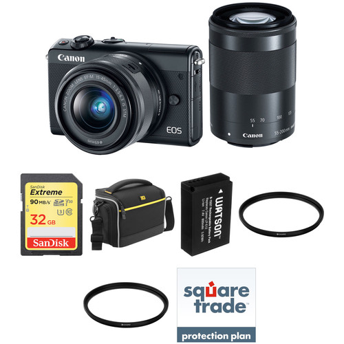 Canon EOS M100 Mirrorless Digital Camera with 15-45mm and 55-200mm Lenses Deluxe Kit (Black)