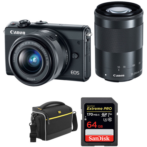 Canon EOS M100 Mirrorless Digital Camera with 15-45mm and 55-200mm Lenses and Accessories Kit (Black)