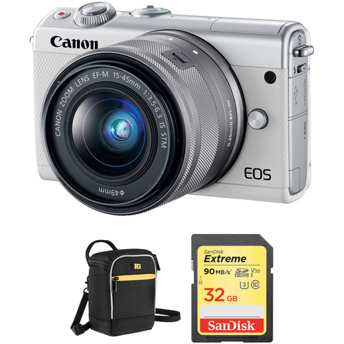 Canon EOS M100 Mirrorless Digital Camera with 15-45mm Lens and Accessories Kit (White)