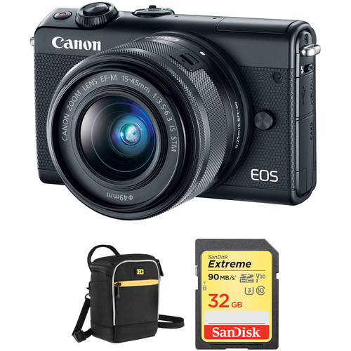 Canon EOS M100 Mirrorless Digital Camera with 15-45mm Lens and Accessories Kit (Black)