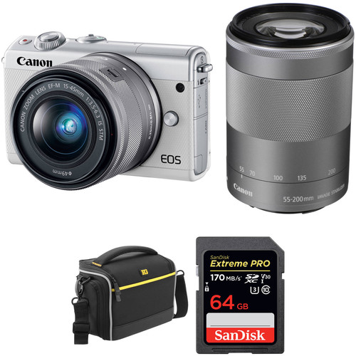 Canon EOS M100 Mirrorless Digital Camera with 15-45mm and 55-200mm Lenses and Accessories Kit (White)