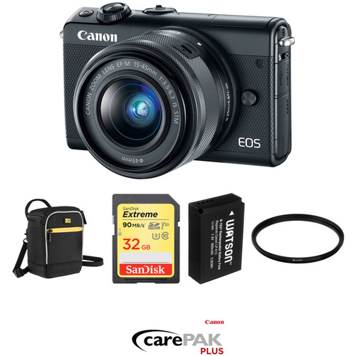 Canon EOS M100 Mirrorless Digital Camera with 15-45mm Lens Deluxe Kit (Black)