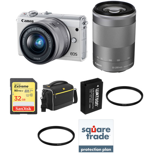 Canon EOS M100 Mirrorless Digital Camera with 15-45mm and 55-200mm Lenses Deluxe Kit (White)