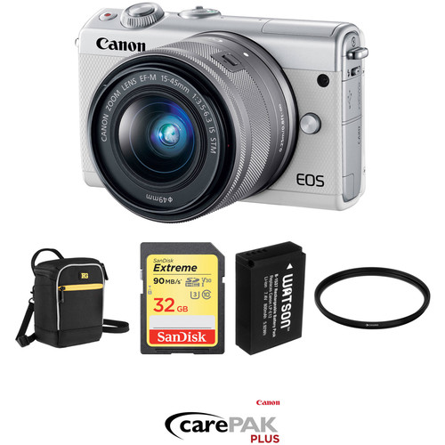 Canon EOS M100 Mirrorless Digital Camera with 15-45mm Lens Deluxe Kit (White)