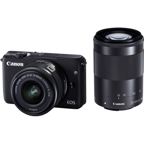 Canon EOS M10 Mirrorless Digital Camera with 15-45mm and 55-200mm Lenses Basic Kit (Black)