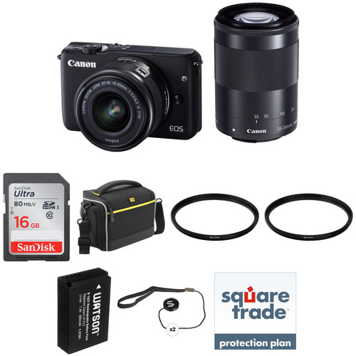 Canon EOS M10 Mirrorless Digital Camera with 15-45mm and 55-200mm Lenses Deluxe Kit (Black)