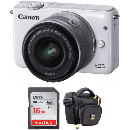 Canon EOS M10 Mirrorless Digital Camera with 15-45mm Lens Basic Kit (White)