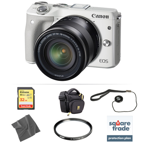 Canon EOS M3 Mirrorless Digital Camera with 18-55mm Lens Deluxe Kit (White)