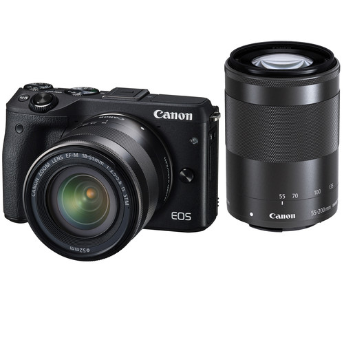 Canon EOS M3 Mirrorless Digital Camera with 18-55mm and 55-200mm Lenses and Electronic Viewfinder Kit (Black)