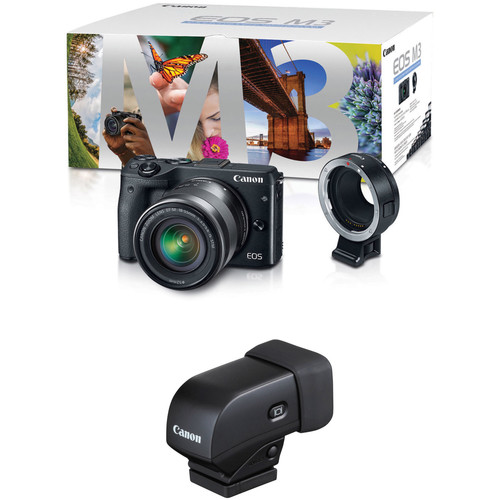 Canon EOS M3 Mirrorless Digital Camera with 18-55mm Lens, Lens Adapter, and Electronic Viewfinder Kit (Black)