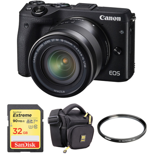 Canon EOS M3 Mirrorless Digital Camera with 18-55mm Lens and Accessories Kit (Black)