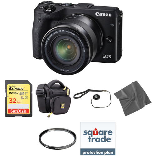 Canon EOS M3 Mirrorless Digital Camera with 18-55mm Lens Deluxe Kit (Black)
