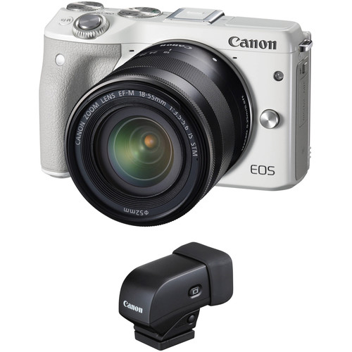Canon EOS M3 Mirrorless Digital Camera with 18-55mm Lens and Electronic Viewfinder Kit (White)