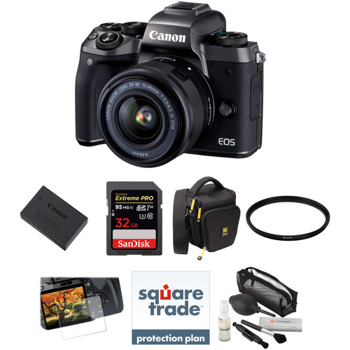Canon EOS M5 Mirrorless Digital Camera with 15-45mm Lens Deluxe Kit