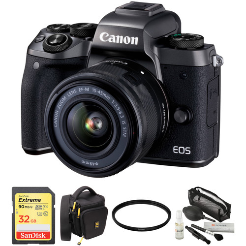 Canon EOS M5 Mirrorless Digital Camera with 15-45mm Lens and Accessories Kit