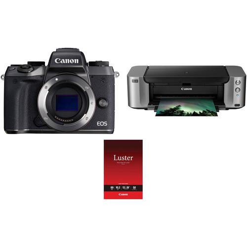 Canon EOS M5 Mirrorless Digital Camera Body with Inkjet Printer Kit