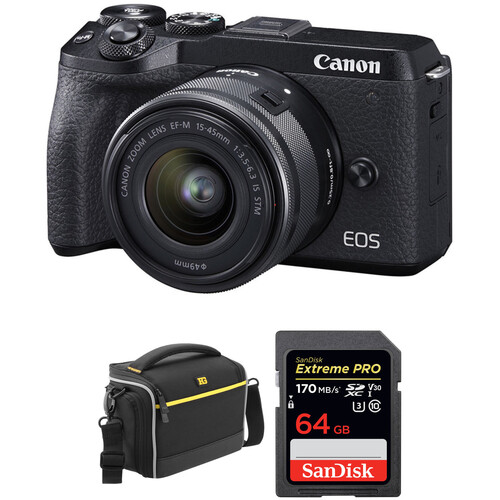Canon EOS M6 Mark II Mirrorless Digital Camera with 15-45mm Lens, EVF-DC2 Viewfinder, and Accessories Kit (Black)