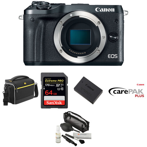 Canon EOS M6 Mirrorless Digital Camera Deluxe Kit (Body Only, Black)