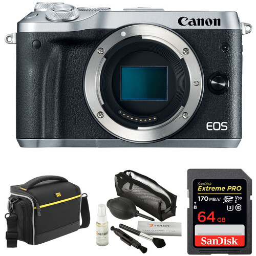 Canon EOS M6 Mirrorless Digital Camera with Accessory Kit (Body Only, Silver)
