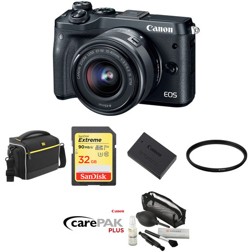 Canon EOS M6 Mirrorless Digital Camera with 15-45mm Lens Deluxe Kit (Black)