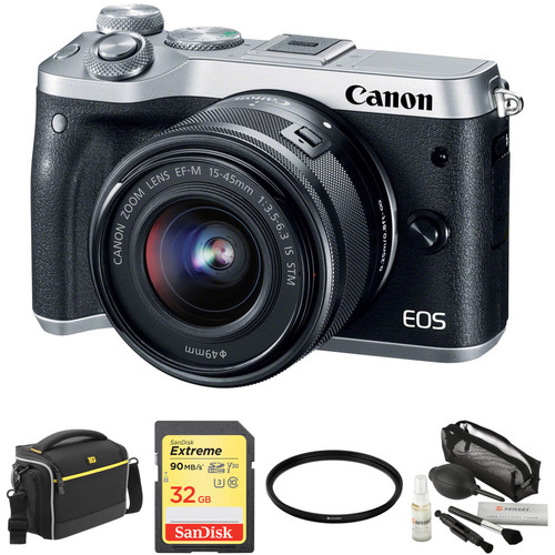 Canon EOS M6 Mirrorless Digital Camera with 15-45mm Lens and Accessories Kit (Silver)