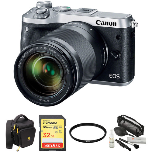 Canon EOS M6 Mirrorless Digital Camera with 18-150mm Lens and Accessories Kit (Silver)