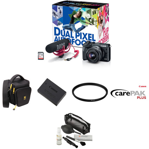 Canon EOS M6 Mirrorless Digital Camera with 15-45mm Lens Video Creator Kit and Deluxe Kit