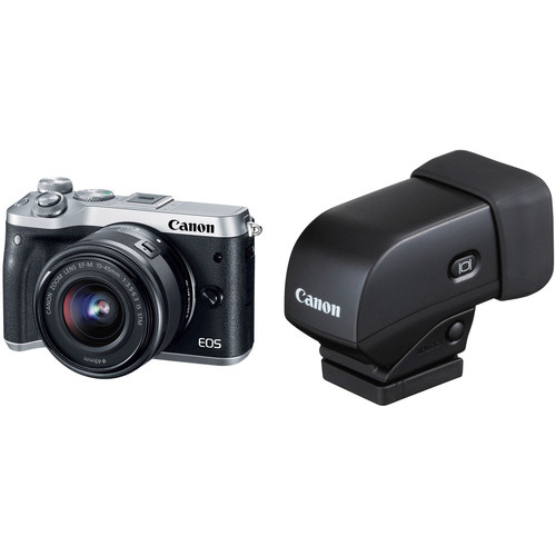 Canon EOS M6 Mirrorless Digital Camera with 15-45mm Lens and Electronic Viewfinder Kit (Silver)