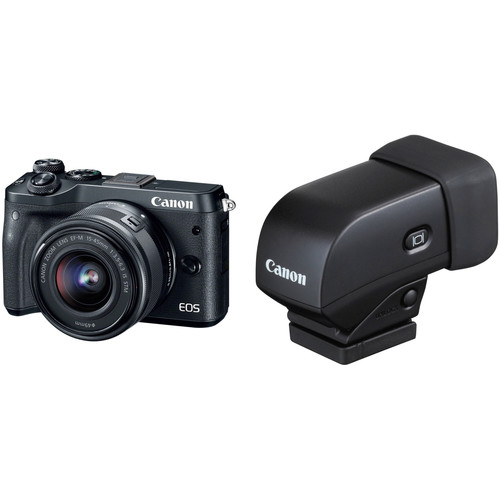 Canon EOS M6 Mirrorless Digital Camera with 15-45mm Lens and Electronic Viewfinder Kit (Black)
