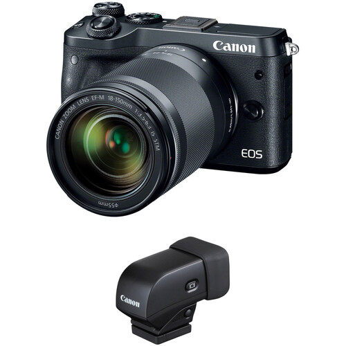 Canon EOS M6 Mirrorless Digital Camera with 18-150mm Lens and Electronic Viewfinder Kit (Black)