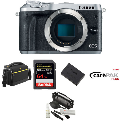 Canon EOS M6 Mirrorless Digital Camera Deluxe Kit (Body Only, Silver)