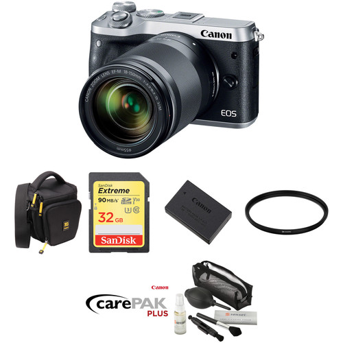 Canon EOS M6 Mirrorless Digital Camera with 18-150mm Lens Deluxe Kit (Silver)