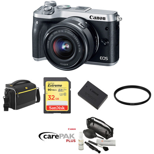 Canon EOS M6 Mirrorless Digital Camera with 15-45mm Lens Deluxe Kit (Silver)