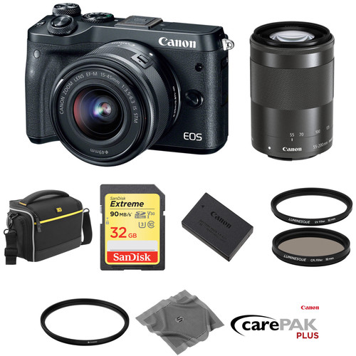 Canon EOS M6 Mirrorless Digital Camera with 15-45mm and 55-200mm Lenses Deluxe Kit (Black)