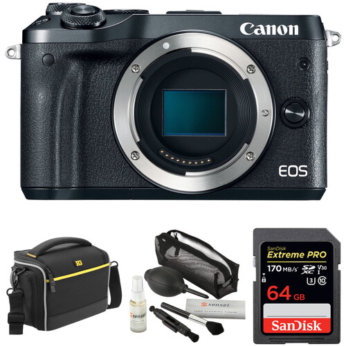 Canon EOS M6 Mirrorless Digital Camera Body with Accessory Kit (Black)