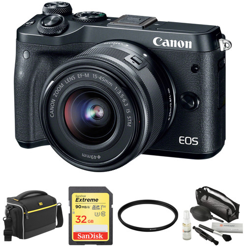 Canon EOS M6 Mirrorless Digital Camera with 15-45mm Lens and Accessories Kit (Black)