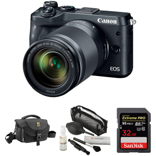 Canon EOS M6 Mirrorless Digital Camera with 18-150mm Lens and Accessories Kit (Black)