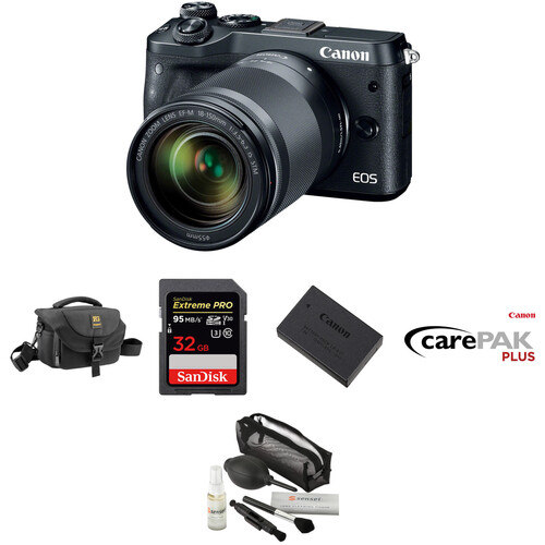 Canon EOS M6 Mirrorless Digital Camera with 18-150mm Lens Deluxe Kit (Black)