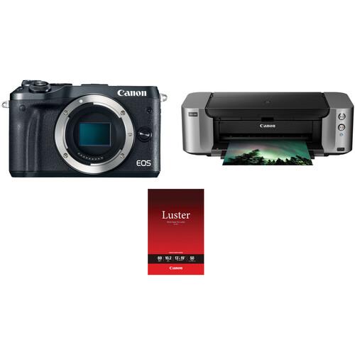 Canon EOS M6 Mirrorless Digital Camera Body with Inkjet Printer Kit