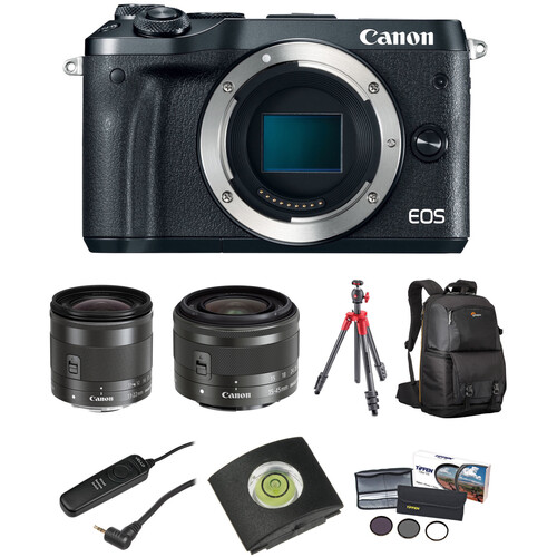 Canon EOS M6 Mirrorless Digital Camera with 11-22mm and 15-45mm Lenses Landscape Kit