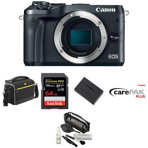 Canon EOS M6 Mirrorless Digital Camera Body Deluxe Kit (Black)