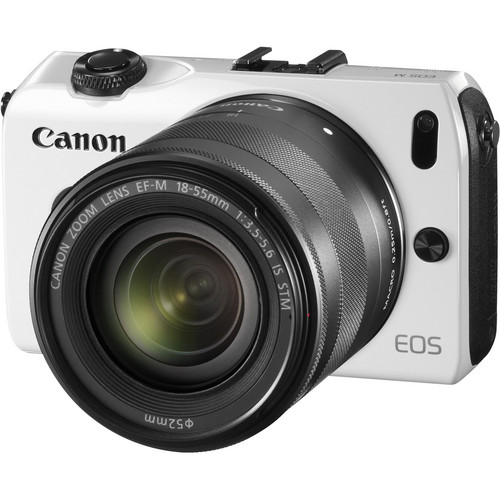 Canon EOS-M Mirrorless Digital Camera with EF-M 18-55mm f/3.5-5.6 IS STM Lens (White)
