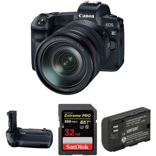 Canon EOS R Mirrorless Digital Camera with 24-105mm Lens and Battery Grip Kit